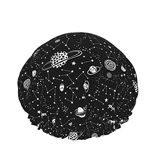 Gorra de ducha plateada para mujer, pelo largo, impermeable, reutilizable, para dormir, spa, salón, perfecto para niños