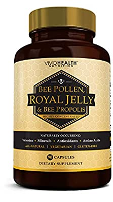 Immune Boosting Royal Jelly & Bee Pollen with Bee Propolis | Healthy Skin and Hair Supplement for Energy and Stamina | High Potency, Pure, Vegetarian Formula - 90 Capsules