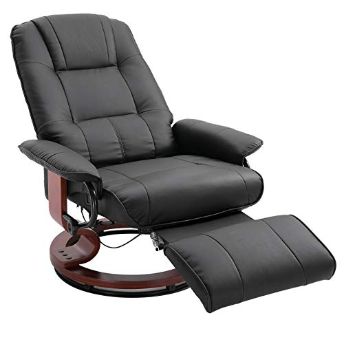 HOMCOM Deluxe Office Chair PU Leather Armchair Wooden Base Black
