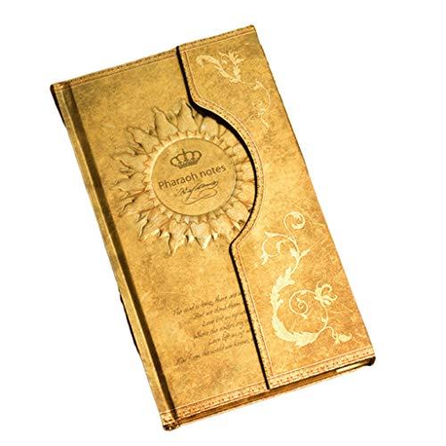 Diario de diario europeo retro con hebilla magnética, cuaderno de regalo para estudiantes (color dorado)