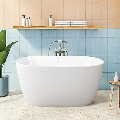 "FerdY 47"" Bali Acrylic Freestanding Bathtub, Gracefully Shaped Freestanding Soaking Bathtub, cUPC Certified, Toe-Tap Brushed Nickel Drain and Minimalist Linear Design Overflow Included, 02538"