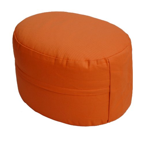 Lotus Design Meditationskissen/Yogakissen, Classic OVAL, extra hoch 21 cm, Bezug 100% Baumwolle waschbar, Yoga Sitzkissen mit Buchweizenschalenfüllung, sozial und fair hergestellt