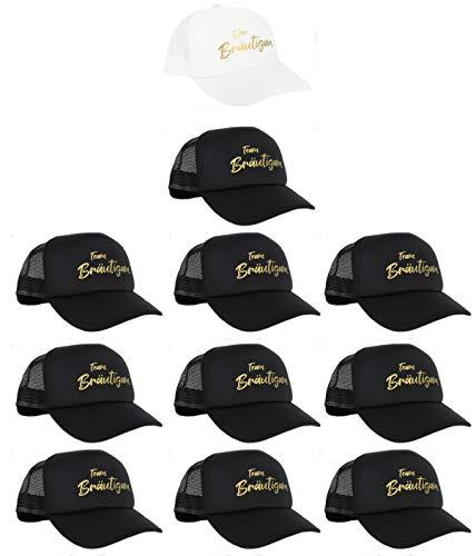 PICSonPAPER Gorra de malla blanca con estampado El novio y 10 negros con impresión dorada Team...
