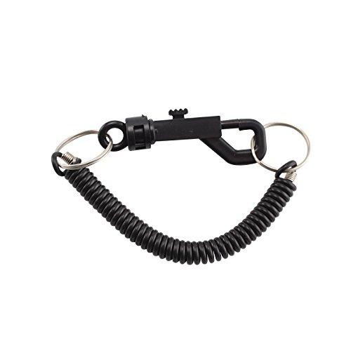Shoze Spring Keyring Spiral Key Chain Retractable Clip On Ring Key Fob Belt Bag Clip Loop Hook Elastic Plastic Assorted Luggage Black