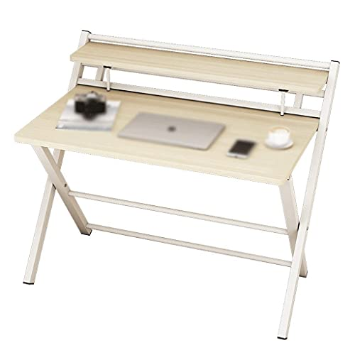 Computer Table Home Student Table Folding Table Writing Desk for Office Folding Desk, Folding Desks for Small Spaces, Foldable Table with Frame,White