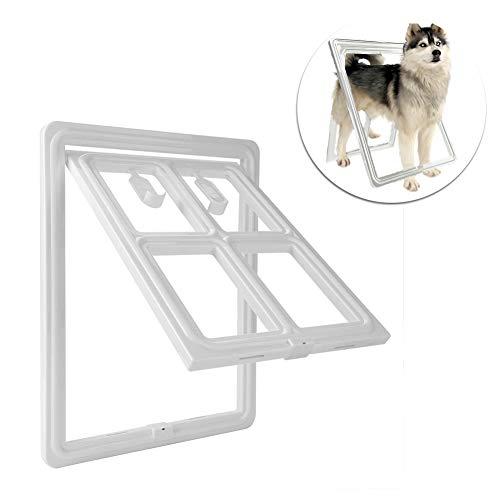 Huisdier Deur, 3e Upgraded versie Plastic Hond Puppy Cat Deur Magnetische vergrendeling Veilige Flap voor Screen Deur Poort en Raam, Groot Wit