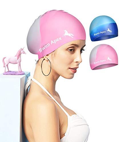 Swim Apex 2 Pack Badekappen für langes Haar Silikon-Badekappen für Frauen Männer Erwachsene Jugendliche Kinder, einfach an- und auszuziehen
