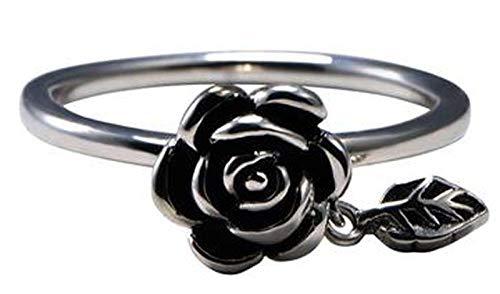 RXSHOUSH Anillo de plata S925 para mujer, anillo de rosa vintage, anillo de regalo de la suerte para hija y novia, 22#