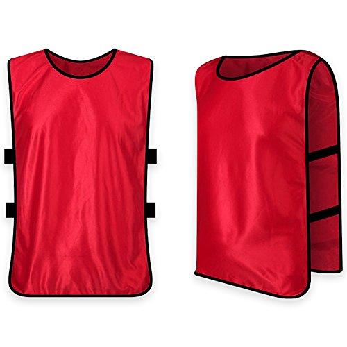 Naisidier Chaleco de Fútbol,Petos Respirable de Fútbol Baloncesto Deportes Correa Elástica para niños Hombres Mujeres Adultos de Free Size,Rojo