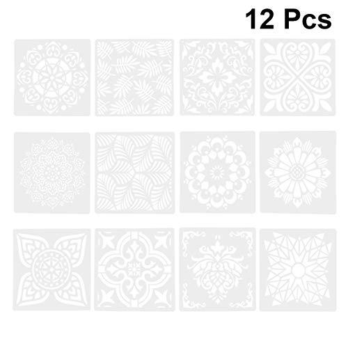 DOITOOL Plantillas de Plástico de 12 Piezas para Pintar en Madera Papel Tela Vidrio Y Plantillas de Plantillas de Dibujo en Forma de Flor de Pared para Niños Juguetes Educativos para Niños