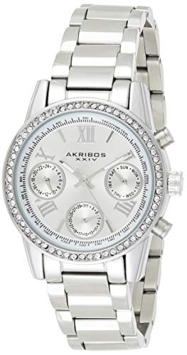 Akribos XXIV Women's Crystal Accent Watch - Multifunction 3 Subdials Day, Date and GMT On Stainless Steel Braclet - AK872