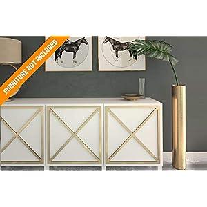 Almada Laubholzverkleidung   Geeignet für IKEA Besta   Farbe: Weißes PVC/Repaintable, goldener Spiegel, silberner…