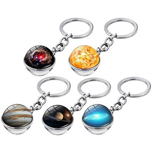 NUOBESTY Chaveiro Planeta de 5 peças com pingente de redoma de vidro, céu estrelado, bolsa de ornamento, mochila, pingente, presente de aniversário (padrão misto)