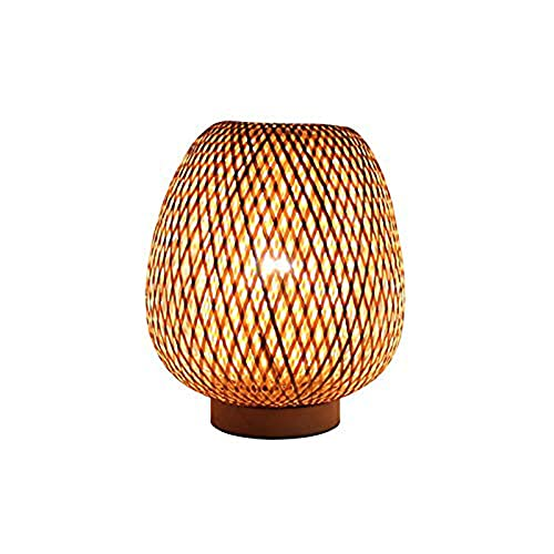 N\W Lámpara de Mesa de Noche con Madera Maciza, lámpara de Mesa Creativa con Pantalla de bambú, lámpara de Escritorio Minimalista para Dormir para Dormitorio, Dormitorio, ratán Hecho a Mano