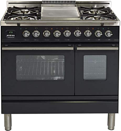 "Ilve UPDW90FDMPMLP 36"" Professional Plus Dual Fuel Liquid Propane Range with Double Oven 5 Sealed Burners Griddle Rotisserie and Warming Drawer in Matte Graphite"