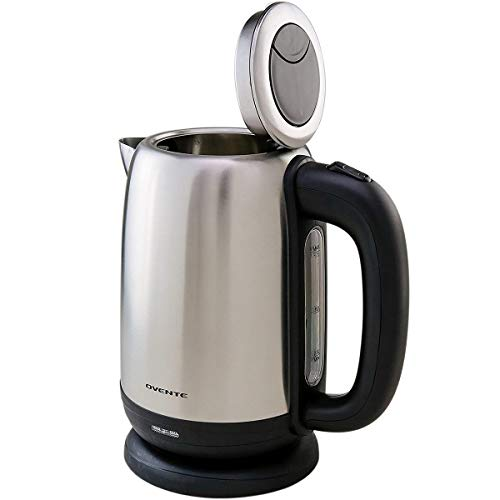 Ovente Electric Hot Water Stainless Steel Kettle 1.7 Liter with Easy Press Open Lid and Filter, 1100 Watt Portable Tea Maker with Fast Heating Element Auto Shut-Off & Boil Dry Protection, Silver KS27S