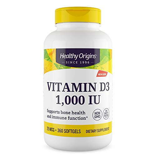 Healthy Origins - Vitamin D3 1000iu x 360 Softgels (Full Year Supply) | High Strength Immune Booster Vitamin D Supplement | Highly Absorbable Liquid Softgel Form | Gluten-Free | Soy-Free | Yeast-Free | Sugar Free
