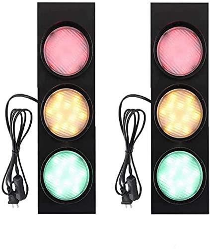 Luz de pared de señal de tráfico interior LED con interruptor y enchufe Señales de seguridad vial Luz de candelabro Niños Guardería Educativa Juego de simulación Advertencia Luz de lavado de pared