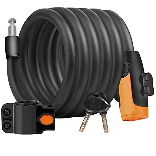 Candado de Bicicleta, candados de Bicicleta Candado de Cable Llaves de Seguridad en Espiral Candado de Cable de Bicicleta con Soporte de Montaje (Color: Negro, Tamaño: 1.2mx4.83mm)