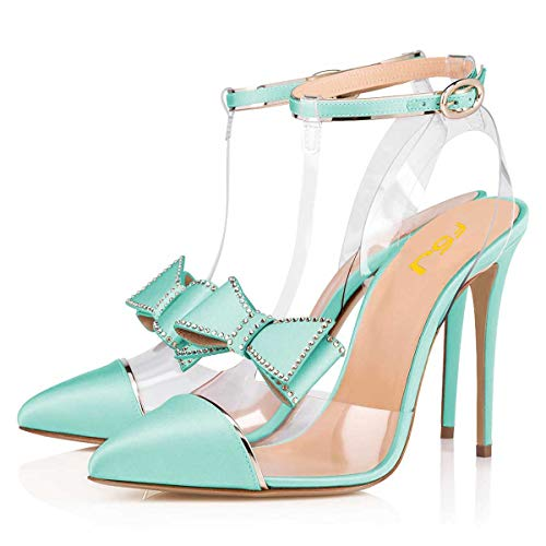 FSJ Women Clear T Strap Pointed Toe Stiletto High Heels Dress Pumps Sandals with Rhinestones Studded Bows Size 8 Turquoise