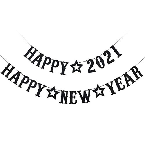 Happy New Year Decorations 2021- Happy 2021 Happy New Year Banner, Black Glitter, New Years Eve Party Supplies 2021, Happy New Year Sign, New Years Decorations for Home Office Fireplace Mantel