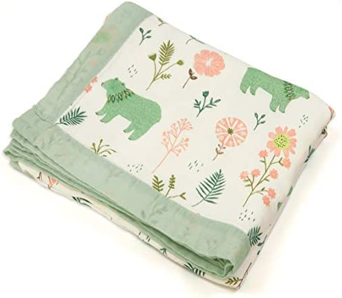 Floral Bear Muslin Swaddle Blankets 4 Layers Baby Quilt for Boys Girls Toddlers Everything Blanket product image