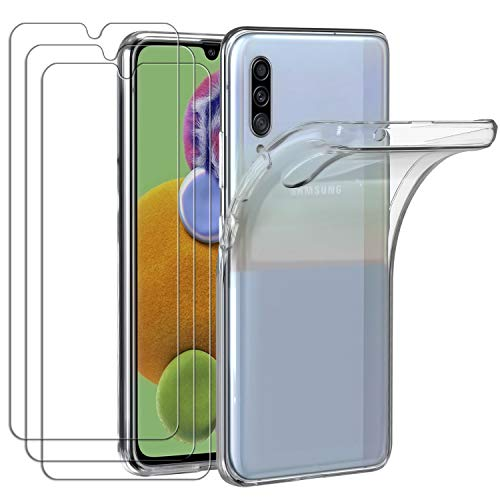ivoler Hülle für Samsung Galaxy A90 5G + [3 Stück] Panzerglas, Durchsichtig Handyhülle Transparent Silikon TPU Schutzhülle Hülle Cover Premium 9H Hartglas Schutzfolie Glas für Samsung Galaxy A90 5G
