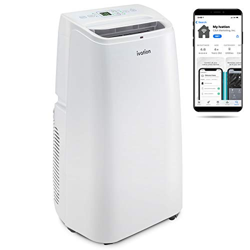 Ivation 12,000 BTU Portable Air Conditioner with Wi-Fi for Rooms Up to 450 Sq Ft (8,000 BTU SACC) 3-in-1 Smart App Control Cooling System, Dehumidifier and Fan with Remote, Exhaust Hose & Window Kit