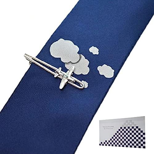 遊び心溢れるタイピン&シルクの高級ネクタイ「飛行機」 & おもてな紙セット SWANK(スワンク)シルク100%