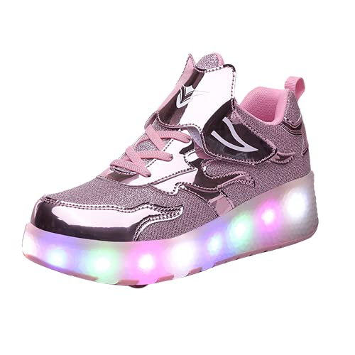 MNVOA USB Automática Ruedas Ajustables LED Zapatillas con Luces Ruedas Color Deporte Zapatos de Skate Roller Deportivos Zapatos Trainers Monopatín Sneaker para Niños Niñas,Rosado,28EU