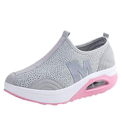 Fenverk Damen Netz Mit Keilabsatz Laufschuhe Sport Freizeitschuhe Atmungsaktiv Plateau Wedges Sneaker Slip On Mesh-OberfläChe Schuhe Sommer Loafers Gr. 35-40 (Grau, 37 EU)