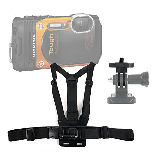DURAGADGET Premium Quality Olympus Stylus Tough TG-860 Action Camera Chest Harness Mount - Fully Adjustable Chest Harness Mount with Quick Release-Buckle for New Olympus Stylus Tough TG-860