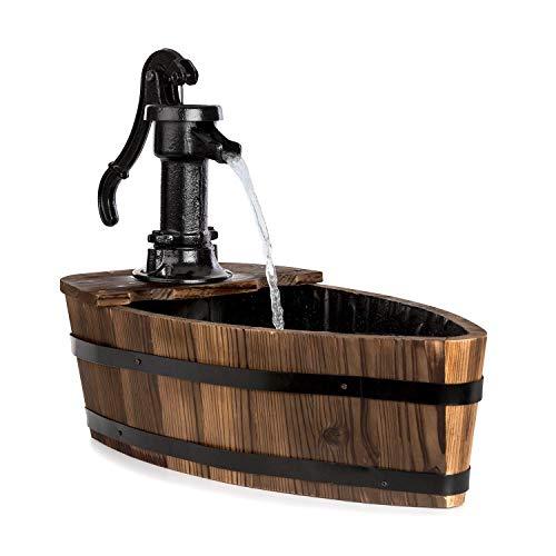 blumfeldt Starnberg Gartenbrunnen - Zierbrunnen, 12 Watt, in Form eines Boots, gusseiserne Schwengelpumpe, mit Teichfolie ausgekleidet, geschlossener Wasserkreislauf, Tannenholz, Holz, braun