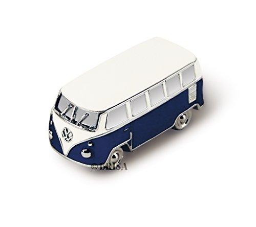 Brisa VW Collection - Volkswagen Furgoneta Hippie Bus T1 Van Mini Modelo en Caja de Regalo, Pisapapeles, Iman para Tablón de anuncios, Decoración Magnética para Nevera como Regalo/Souvenir (Azul)