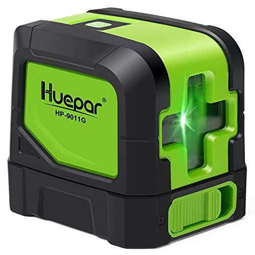 Huepar 2ライン グリーン レーザー墨出し器 クロスラインレーザー 緑色 レーザー 自動補正 傾斜モード 高輝度 ライン出射角110° ミニ型 操作簡単 マグネットベース付き M-9011G
