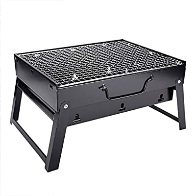 Fewear Barbecue Charcoal Grill Stainless Steel Folding Portable BBQ Tool for Outdoor Cooking Camping Hiking Picnics Tailgating Backpacking or Any Outdoor Event (A)