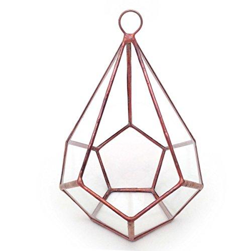en forme de larme Terrarium avec boucle/géométrique en verre Pot de fleurs/pot de fleurs moderne/fait à la main en Angleterre M Cuivre clair