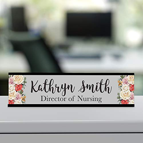 Personalized Custom Desk Name Plate Floral Pretty Roses Grey 15 Font Styles Aluminum 2 x 8