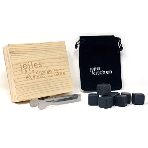joeji's Kitchen Set de Regalo de Piedras para Whisky de Granito | Conjunto de 9 Cubitos de Hielo Reutilizables, Whisky Stones en Exclusivo Conjunto de Caja de Madera y Bolsa de Terciopelo