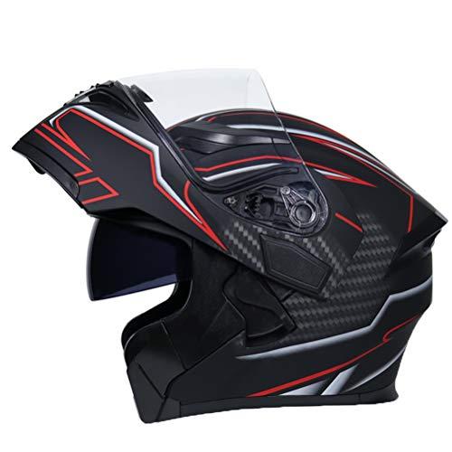 Casco de Moto Modular Doble Visera Hombre Flip up Racing Cascos de Alto Rendimiento Profesionales Mujeres Cascos Exteriores Motocross Cascos M(57-58cm) 8