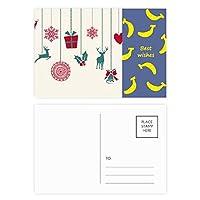 クリスマスのヘラジカの雪片心臓フェスティバル バナナのポストカードセットサンクスカード郵送側20個