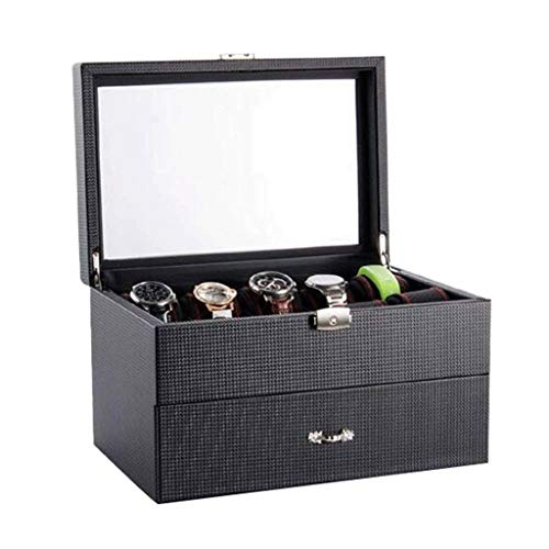 LDELS Jewelry Box- Grid Watch Box Lockable Jewelry Display Storage Case Bracelet Organisers Display Boxes with Removable Pillows Holders