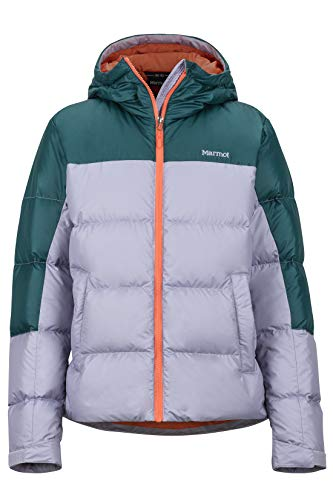 Marmot Damen Wm's Guides Down Hoody Ultra-leichte Daunenjacke, 700 Fill-Power, Warme Outdoorjacke, Wasserabweisend, Winddicht, Lavender Aura/Deep Teal, L