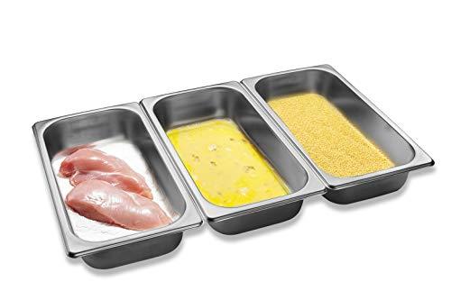 Supremery Panier-Set aus Edelstahl 3-teilig - 3X Schale zum Panieren 32,5 x 17,5 x 6,5 cm - Schnitzel Fleisch Fisch - Metall Panierstraße rechteckig