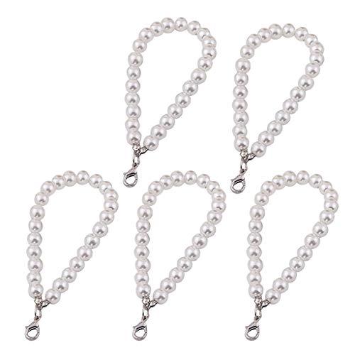 Llavero, 5 unidades, perlas sintéticas, para monedero y llaves plata Talla única