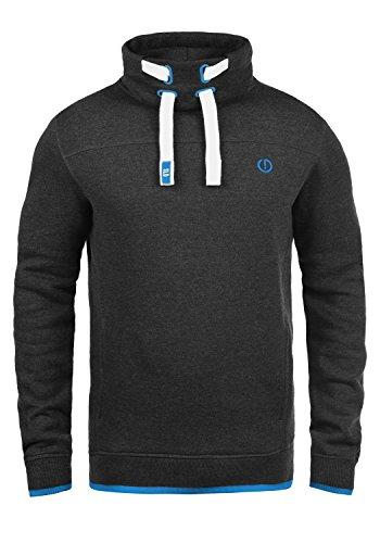 !Solid Benjamin Herren Sweatshirt Pullover Pulli Mit Stehkragen Und Fleece-Innenseite, Größe:M, Farbe:Dark Grey Melange (8999)