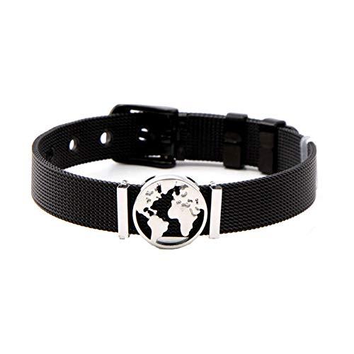Edelstahl Folie Weltkarte Charms Armband Mesh Armbänder Für Frauen Männer Schmuck Frohes Neues Jahr Geschenke Armband Länge 21cm