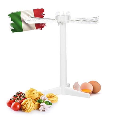 Relaxdays Essiccatore per la Pasta, 6 Bracci, Stand Pieghevole per Tagliatelle & Spaghetti, HLP 31 x 31 x 31 cm, Bianco, 1 pz