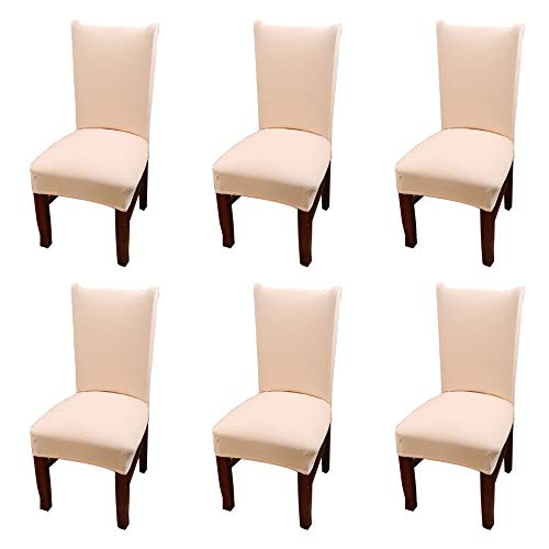 Argstar 6 Pack Chair Covers, Stretch Armless Chair Slipcover for Dining Room Seat Cushion, Spandex Kitchen Parson Chair Protector Cover, Removable & Washable, Beige Spring Flower Design