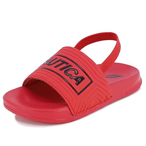 Nautica Sandália infantil infantil atlética para piscina | Meninos - Meninas|(Bebê/Bebê/Criança pequena), Vermelho e preto, 11 Little Kid